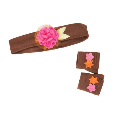 Florabundance brown headband with pink tulle flower, fingerless gloves fits all 18 inch dolls.