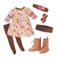 Funky dress with cummerbund, headband, fingerless gloves, tights and lace-up boots for 18 inch doll.