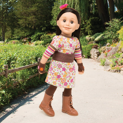 Funky dress with cummerbund, headband, fingerless gloves, tights and lace-up boots on 18 inch doll.