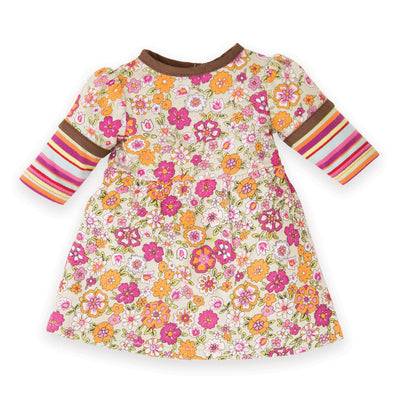 Florabundance brown, orange and pink floral dress fits all 18 inch dolls.