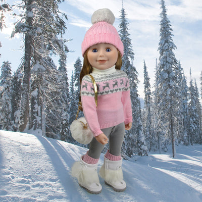 18 inch doll in pink and silver winter sweater with pom pom toque and boots