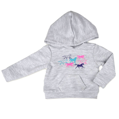 Happy horse Hoodie grey horse-print hoodie for 18 inch dolls like American Girl and Maplelea