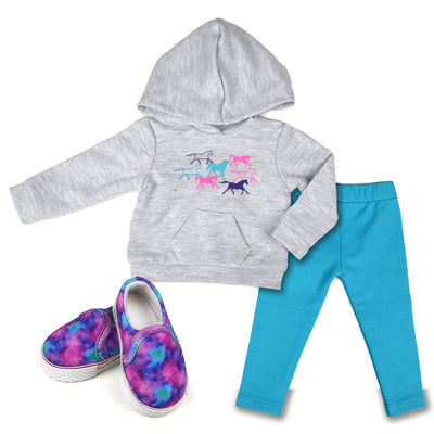 Happy Horse Hoodie set includes grey pony print hoodie slip-on shoes aqua leggings for 18 inch dolls
