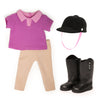 Hold Your Horses riding pants, pink polo, black riding boots and helmet fits all 18 inch dolls.