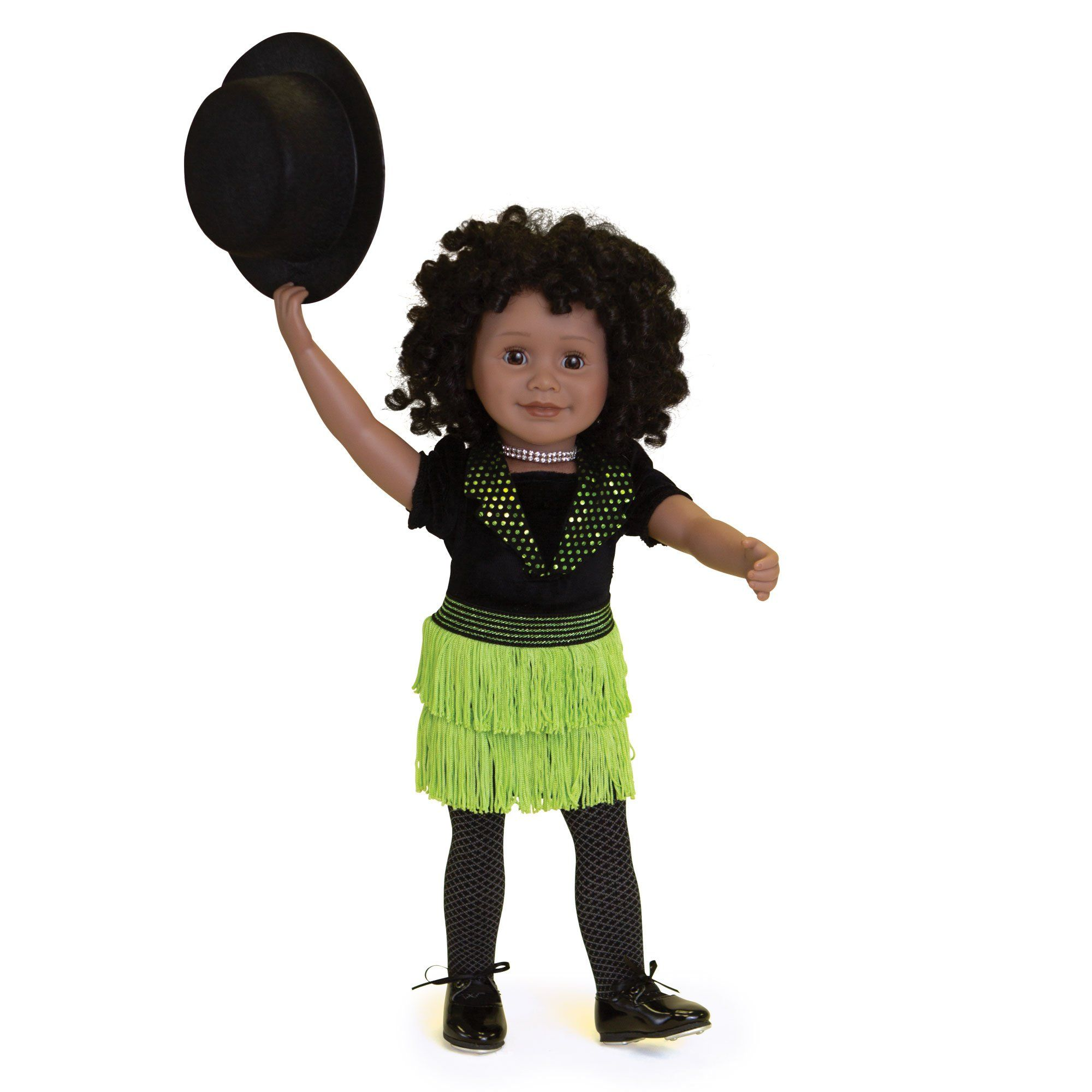 Happy Tap black bodysuit, green fringed skirt, black tights, black top hat, sparkly choker and real tap shoes fits all 18 inch dolls.