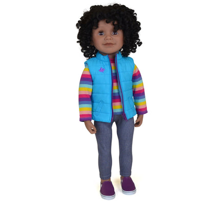 Maplelea 18 inch doll with short curly black-brown hair, dark skin & brown eyes