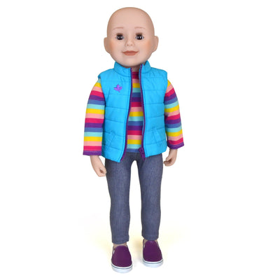 Maplelea 18 inch doll with no hair brown eyes and light skin