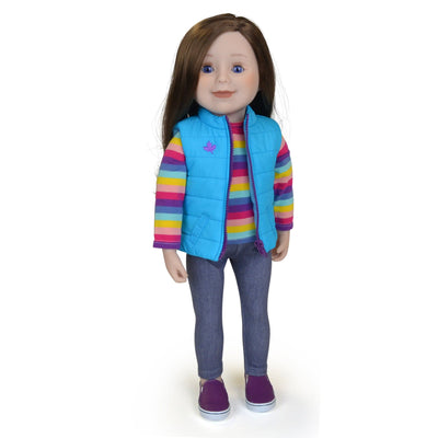 Maplelea 18 inch doll with long brown hair blue eyes and light skin