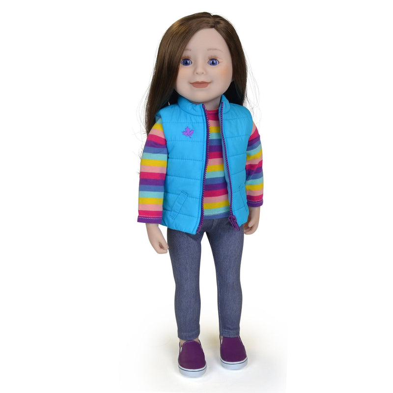 18 inch doll with long brown hair blue eyes and fair skin wearing striped shirt jeggings and slip-on shoes