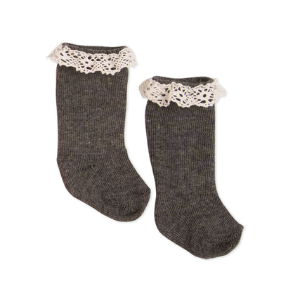 Grey knee-socks with lace detail for all 18 inch dolls.