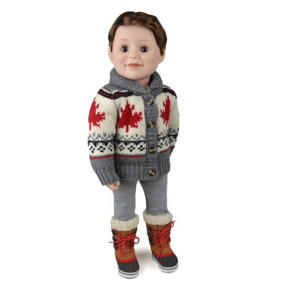 Canadian Boy Doll wearing bulky knit grey and off-white cardigan sweater with maple leaf pattern for all 18 inch dolls