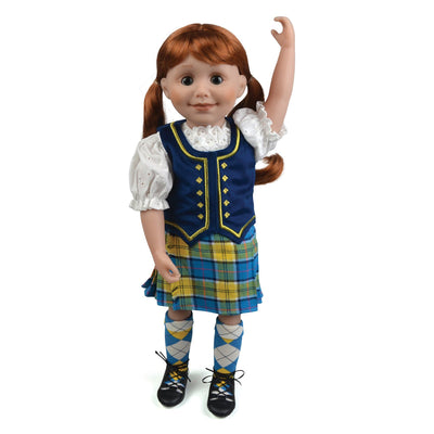 highland dance outfit tartan kilt ruffled blouse velvet vest plaid socks ghillies for 18 inch dolls
