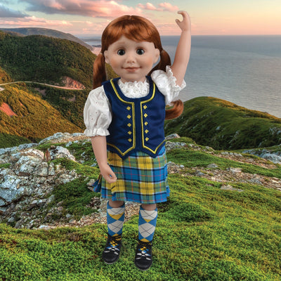 highland dance outfit tartan kilt white blouse velvet vest plaid stockings ghillies for 18 inch dolls on sunset cliff background