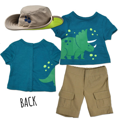 Paleontology outfit for 18 inch dolls with dinosaur graphic  safari hat and khaki shorts