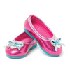 Metallic blue and pink flats with heart and bow detail fits all 18 inch dolls.