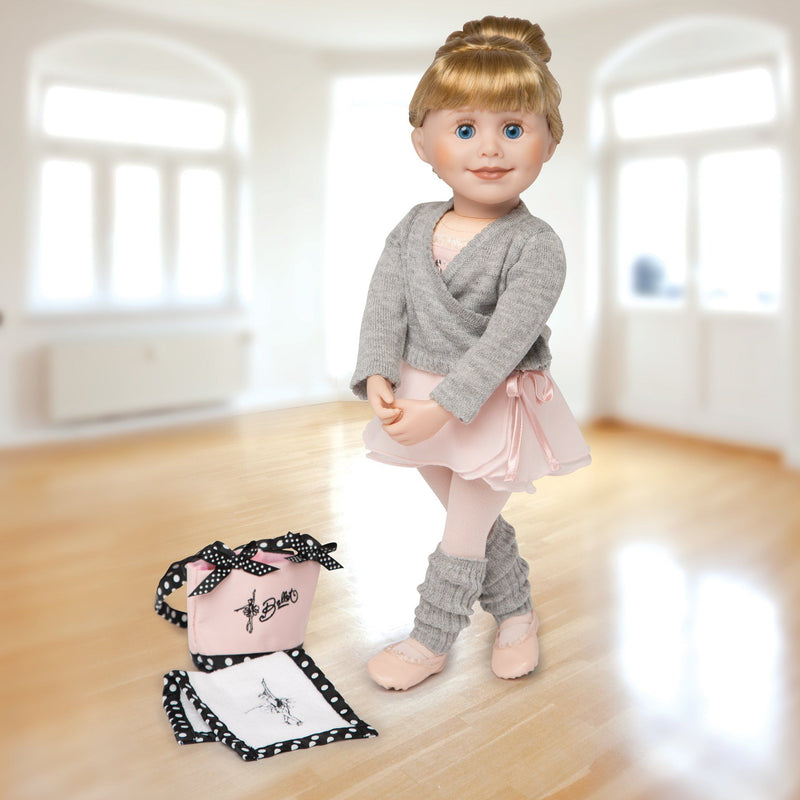 Pirouettes and Plies 10-piece ballet set. Grey sweater, pink skirt, pink beaded bodysuit, grey leg warmers, pink tights, pink ballet shoes, black and white towel, bun maker and pink bag fits all 18 inch dolls.