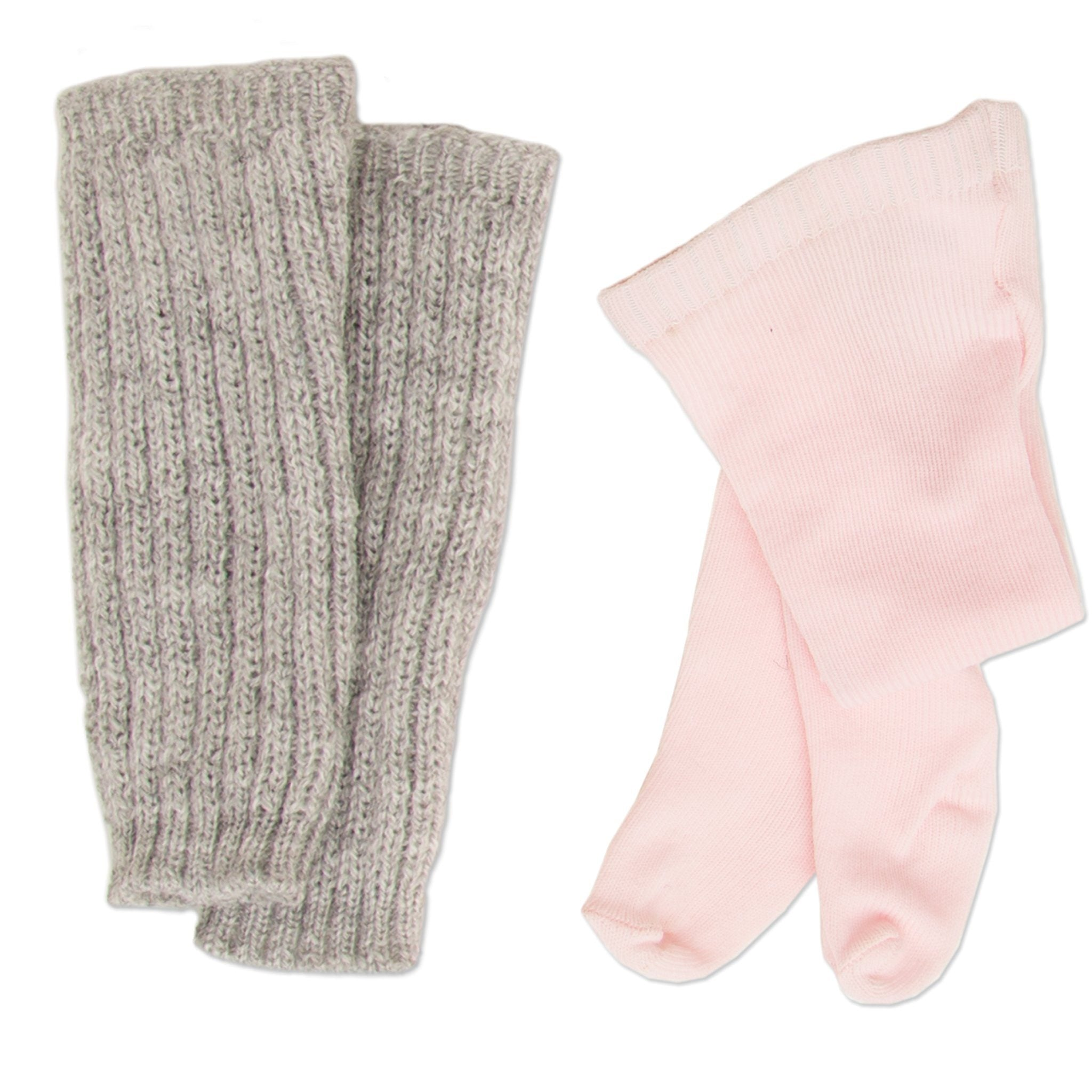 Pirouettes and Plies 10-piece ballet set grey leg warmers, pink tights fits all 18 inch dolls.
