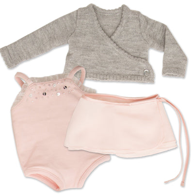 Pirouettes and Plies 10-piece ballet set grey sweater, pink skirt, pink beaded bodysuit fits all 18 inch dolls.