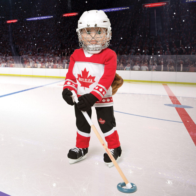 Ringette set red and white jersey, black and red pants, blue protective girdle, shoulder pads, elbow pads, shin pads, neck guard, stick, ring, bag, hockey skates and white ringette helmet fits all 18 inch dolls.