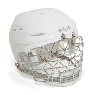 Ringetter white helmet with cage fits all 18 inch dolls.