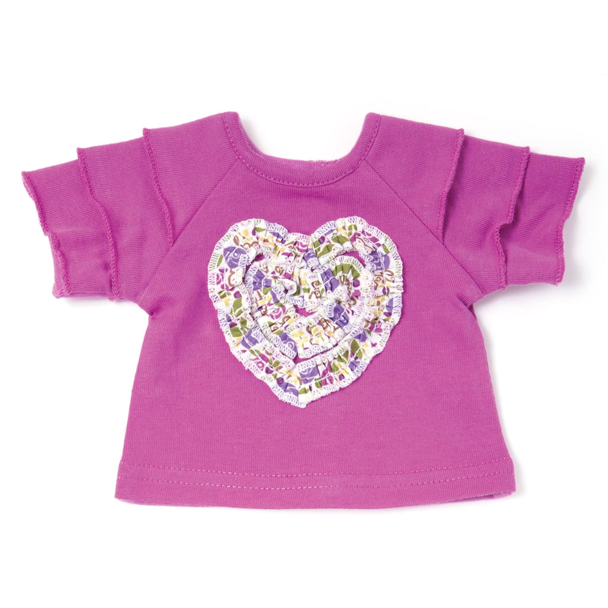 Rose of hearts pink t-shirt with ruffle heart fits all 18 inch dolls.