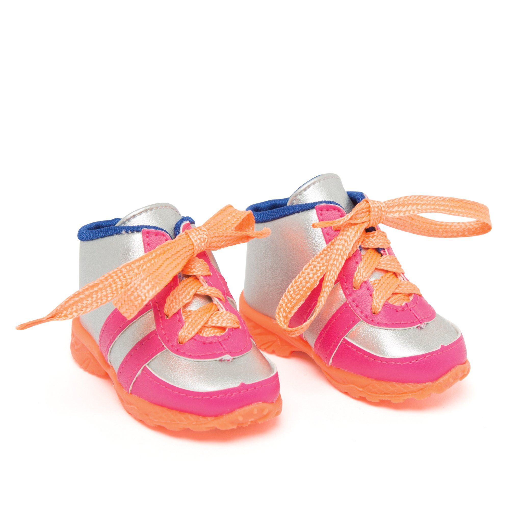 slam dunk silver and orange running shoes fits all 18 inch dolls.