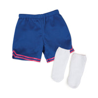 slam dunk  blue basketball shorts and white athletic socks fits all 18 inch dolls.