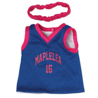 slam dunk reversible white and blue basketball jersey and headband fits all 18 inch dolls.