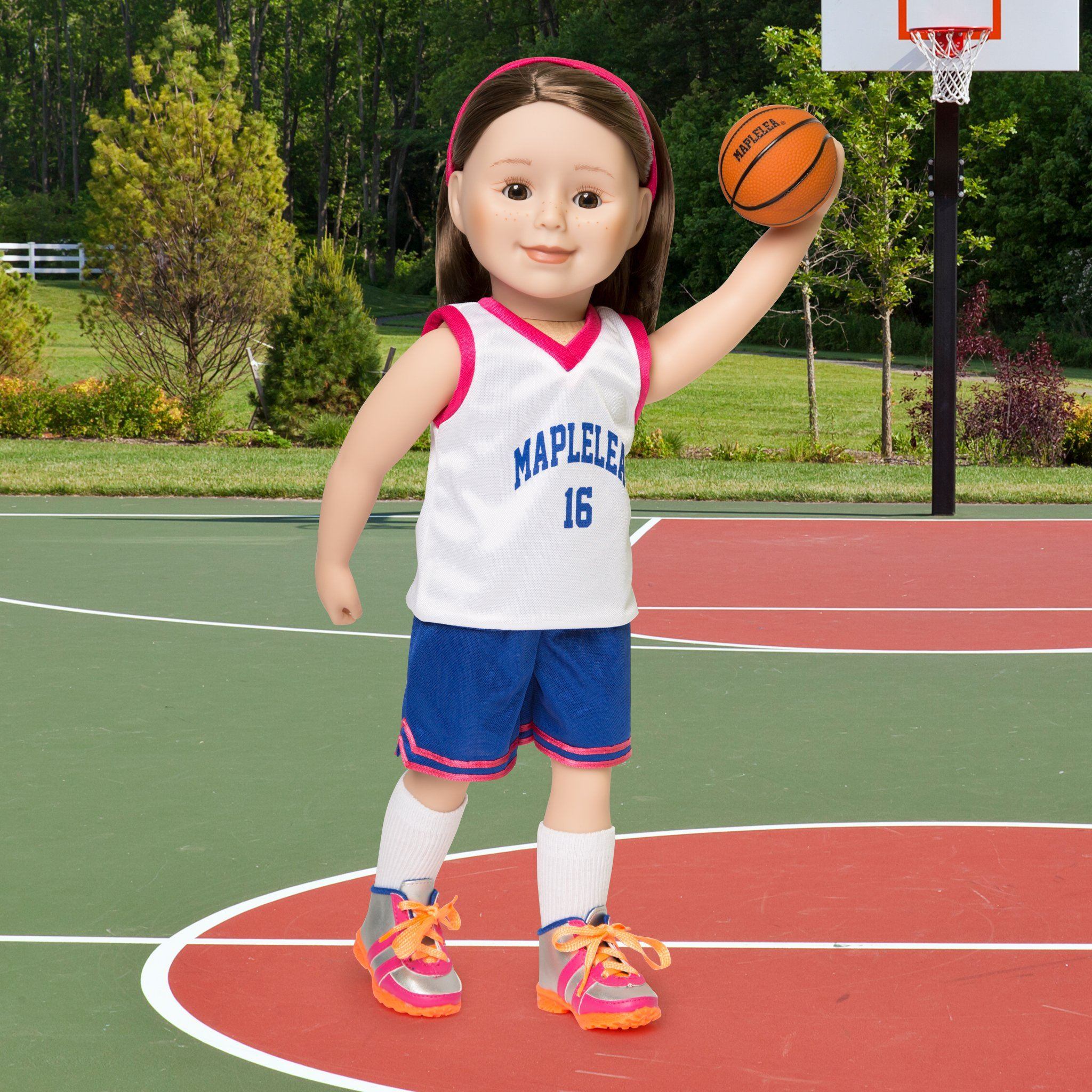 slam dunk reversible white and blue basketball jersey, blue shorts, white socks, fuchsia headband, basketball, silver and orange running shoes fits all 18 inch dolls.