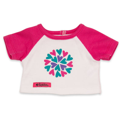 Sleepy Time PJs 2 piece pyjama t-shirt with pink sleeves and heart graphic fits all 18 inch dolls.