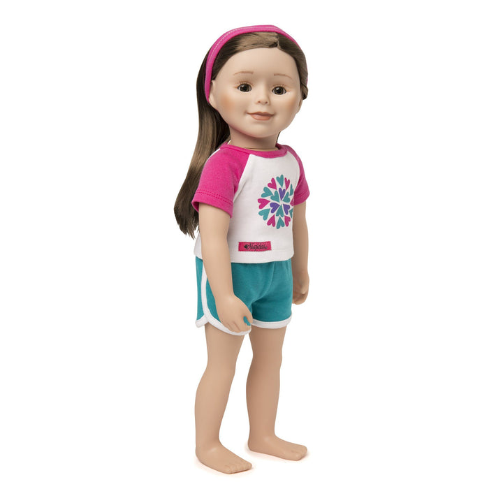 Sleepy Time PJs 2 piece pyjamas, white t-shirt with pink sleeves and purple, pink and teal heart graphic, teal shorts with white trim and pink headband fits all 18 inch dolls.