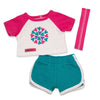 "Pyjamas for 18"" dolls. T-shirt with pink sleeves and pretty heart graphic, teal shorts and headband."