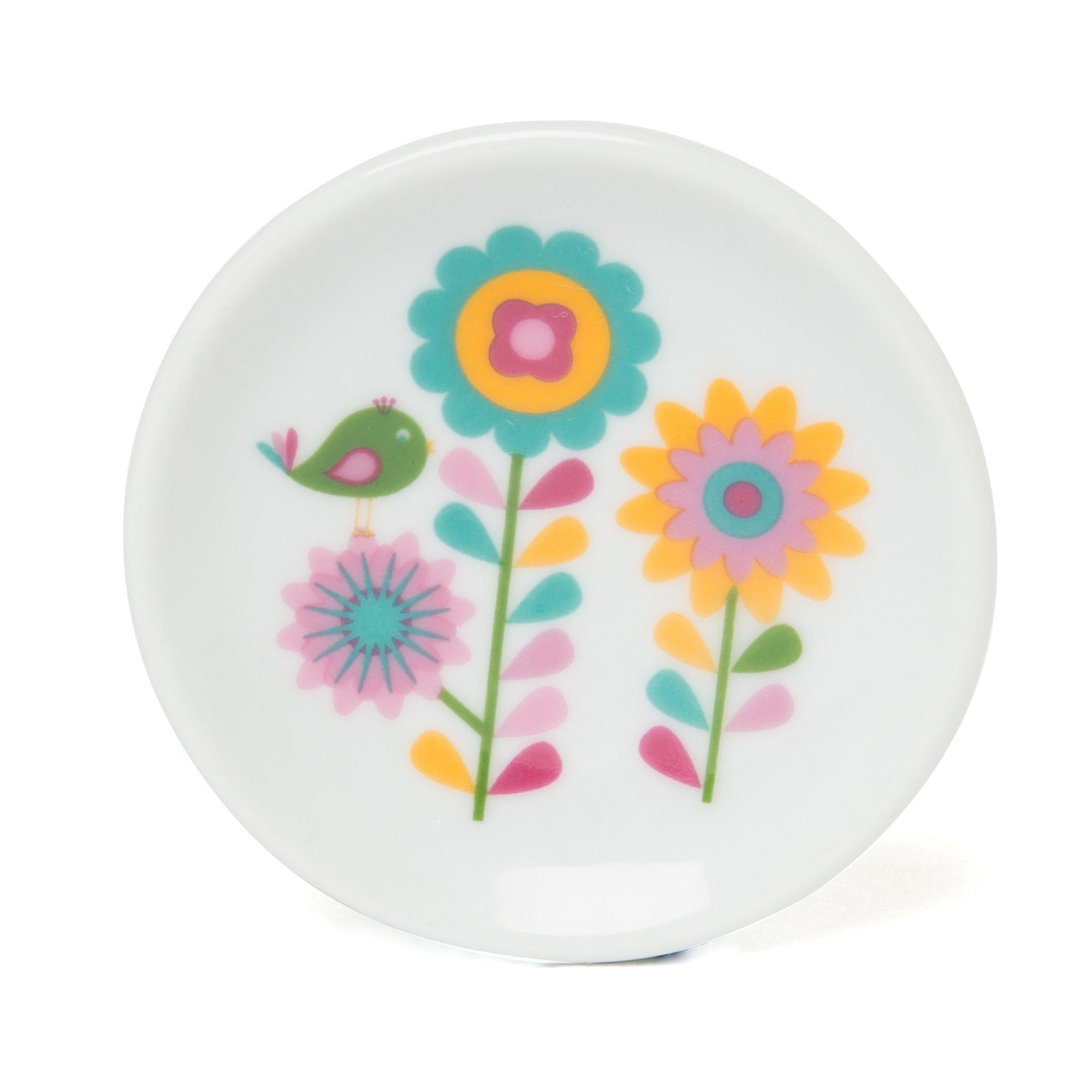 China plate for doll's tea set with bird and flower graphic.