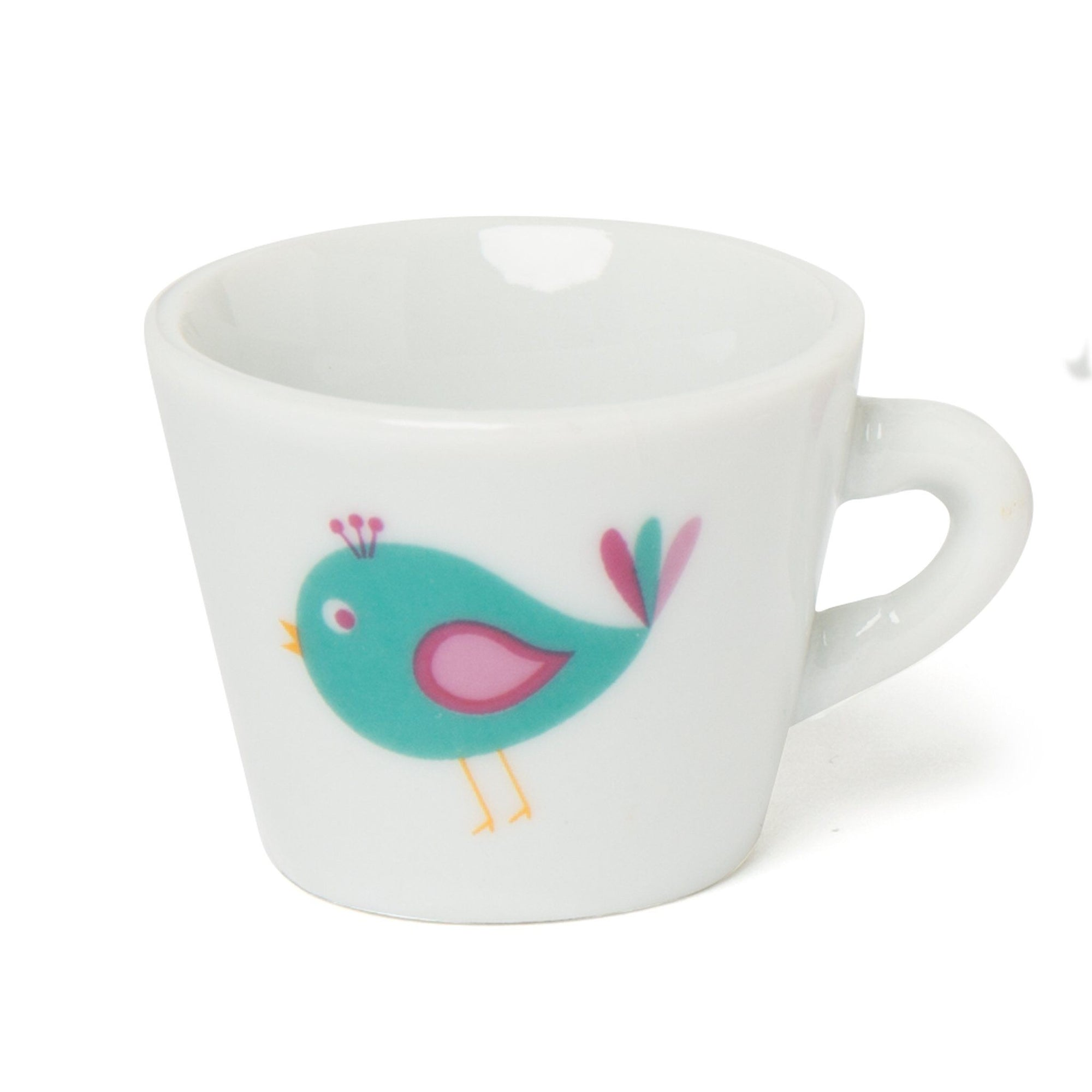 China tea cup with bird graphic, for 18 inch dolls.