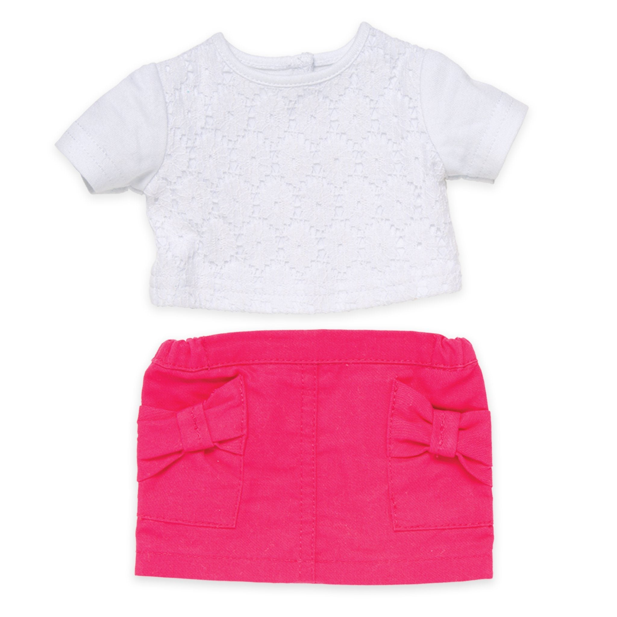 Fuchsia skirt with bow pockets lace t-shirt fits all 18 inch dolls.