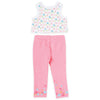 White patterned sleeveless tee, pink tights with flower print at ankles fits all 18 inch dolls.