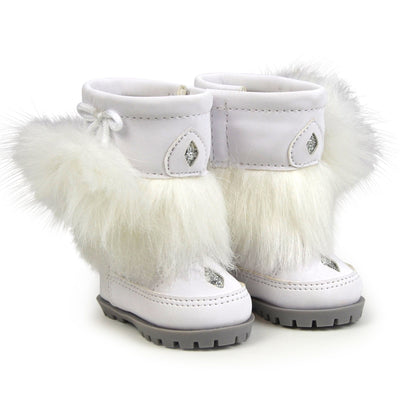 Furry white winter boots for 18 inch dolls trimmed with faux fur grey soles and silver stitching.
