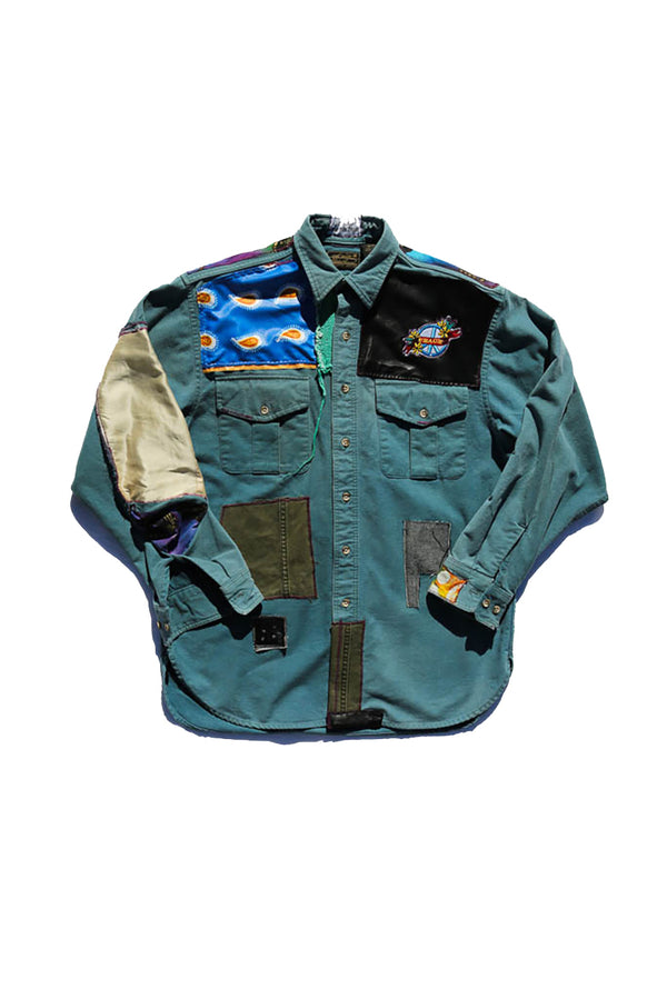 African Blue Safari Shirt