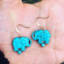 Elephant Love Howlite and Turquoise Earrings