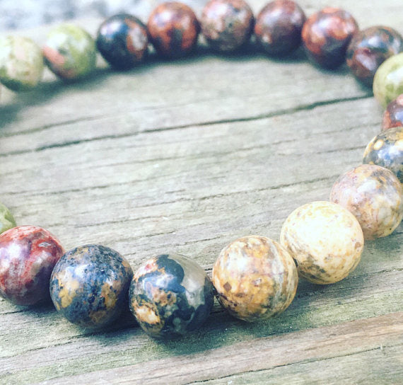 Leopard Jasper and Unakite Stretch Bracelet