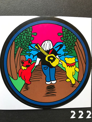 Grateful Dead Jerry walking with Dancing Bears Sticker