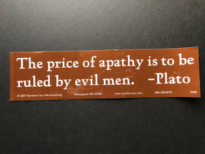 Plato Price of Apathy Sticker