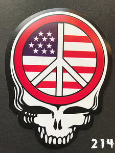 Grateful Dead Steal Your Face U.S. Flag & Peace Sign Sticker
