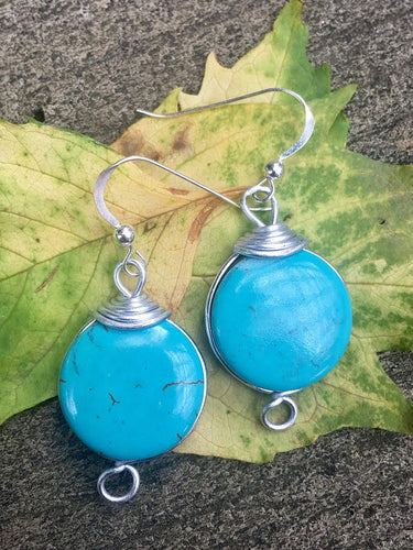 Turquoise Howlite Gemstone and Sterling Silver Earrings