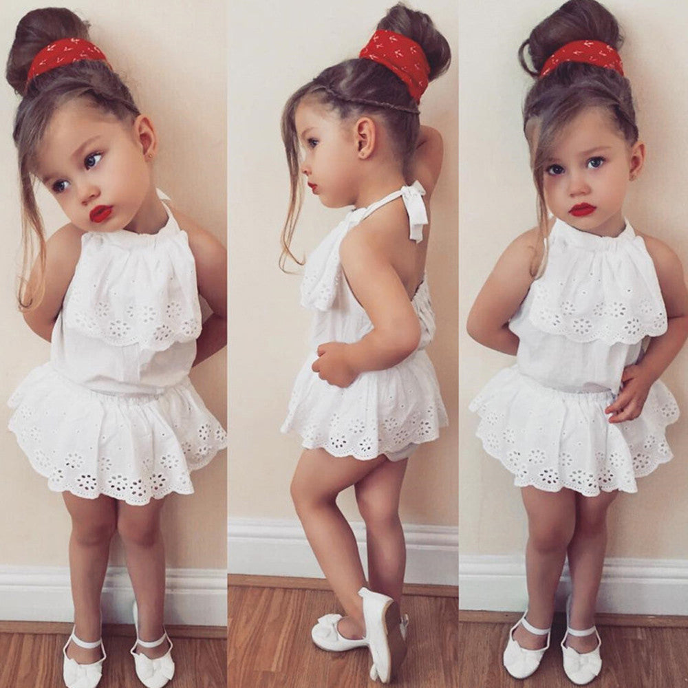 Newborn infant baby girls solid lace bandage tops fashion new summer shorts shirt outfits clothes sets