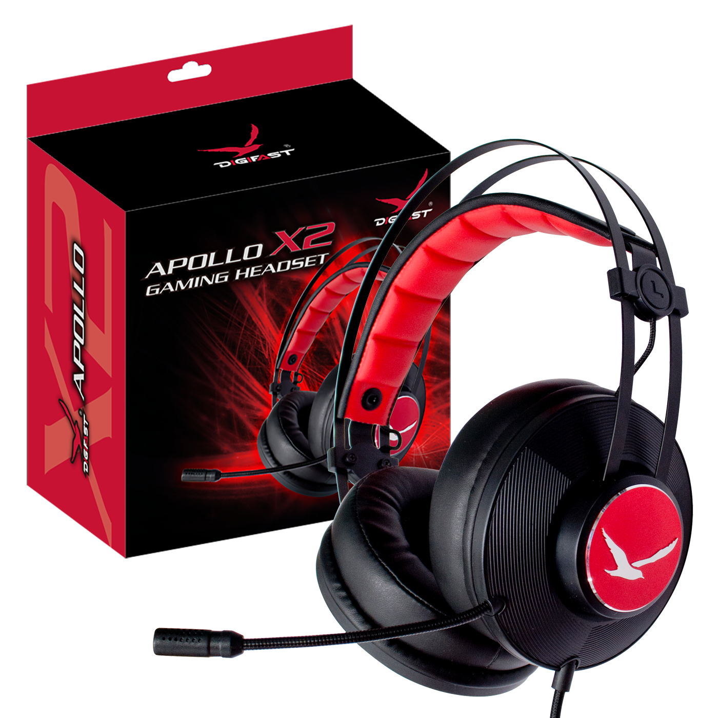 Digifast Apollo X2 headset with noise-canceling microphone with packaging