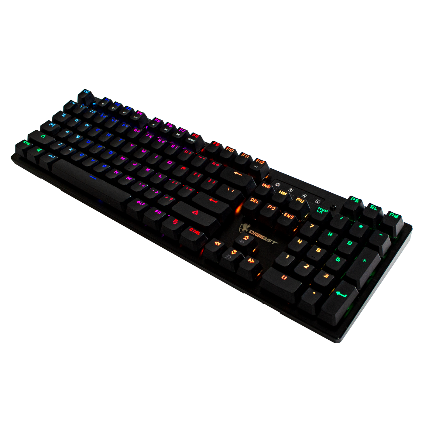 Gaming Keyboard - Digifast Mechanical, Custom RGB, Clicky Feedback, Durable, Water Resistant Wired, USB, Gaming Keyboard Lightning Series LK32