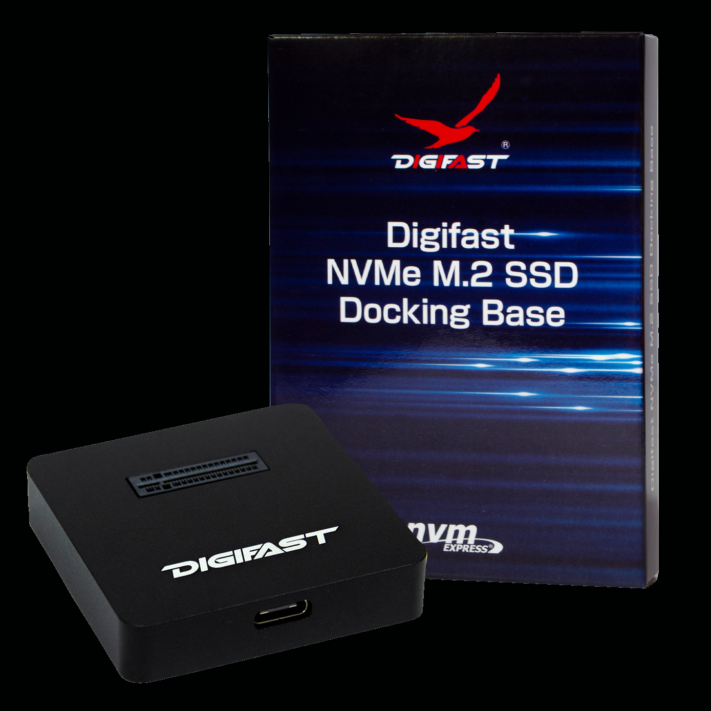 M.2 Docking Base - Digifast M.2 NVMe SSD Docking Base, USB3.1 GEN2 Type-C (10 Gbps) - Black