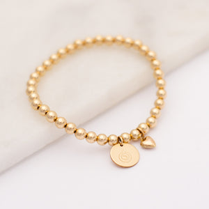 Breastfeeding Love Bracelet, Gold Beaded Bracelet with Breastfeeding charm and heart charm