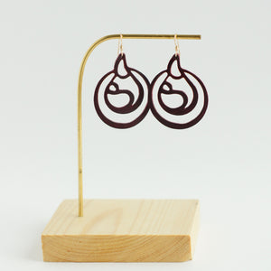 burgundy breastfeeding leather earrings